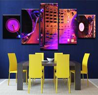 ingrosso arte della parete della musica-Quadri astratti Living Room Wall Art Stampe su tela 5 pezzi Music DJ Console Mixer strumento Home Decor Poster