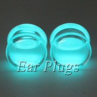 Wholesale Ear Plugs Glow Dark - 16pcs glow in the dark ear plug gauges transparent acrylic flesh tunnel liquid glow plugs body piercing jewelry 6mm-20mm