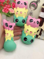 Wholesale Bear Kitty - 20pcs New Squishy Jumbo 12CM Kawaii Kitty Panda Bear Face Soft Slow Rising String Scented Squeeze Toy pendant kids gift free shipping