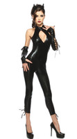 Wholesale Faux Leather Catsuit - New 2016 Hot Selling Sexy Catwoman Costume Catsuit Slim Fit PVC Faux Leather Bodysuit Latex Costume Sexy Night Club Wear