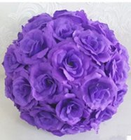 Boules De Mariage Violet Foncé Pas Cher-Wedding Dark Purple Theme Artificial Silk Flower Ball Suspension Kissing Balls 15 cm à 60 cm Ball For Wedding Party Décoration Fournitures