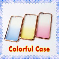 Wholesale Electroplating Battery - Ombre Rainbow Shadow Crystal Clear Case Electroplate Ultra-Thin Transparent Soft TPU Cases for iPhone 5 SE 6 6s plus 01
