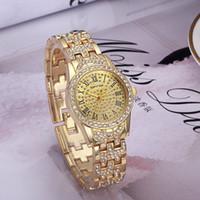 Wholesale Ladies Crystal Watch - 2017 New Luxury Brand Women Watches Fashion Full Crystal Rhinestone Stainless Steel Quartz Ladies Watch Montre Relojes De Marca Wristwatches