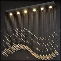 Wholesale Wave Ceiling - 100cm*20cm LED Pendant Light 6 Lights Modern Silver Canpoy Transparent Crystal Waves Ceiling Lighting Fixtures LLWA140