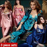 Wholesale Womens 3pcs Sets - 2016 new spring autumn elegant womens silk satin 3 piece sleep suit 3pcs pajama sets sleepwear women lounge pyjamas