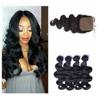 Wholesale Silk Closures Virgin Body Wave - 4x4 Silk Base Closure With Bundles Natural Black Unprocessed Human Hair Peruvian Body Wave Virgin Hair With Closure 5pcs Lot G-EASY