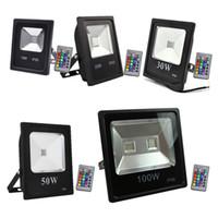 açık hava rgb sel toptan satış-Açık Sel Aydınlatma 10 W 20 W 30 W 50 W 100 W RGB Led ışıkları IP65 Su Geçirmez Led Sel Işık Açık duvar lambası AC 85-265 V