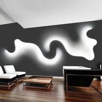Wholesale black white living room decor for sale - Group buy Creative Acrylic Curve Light Snake LED Lamp Nordic Led Belt Wall Sconce For Decor