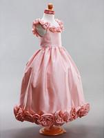 echte probe blumen linie großhandel-Prinzessin nach Maß Real Sample A-Linie Scoop bodenlangen Taft Blumenmädchen Kleid schöne Kinder formale Accessoires