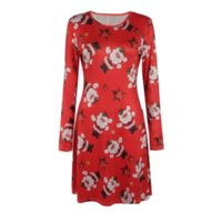 Wholesale Christmas Snowman Costume - Autumn And Winter Christmas Costume Santa Claus Lucky Star Snowman Print Long Sleeve Dress Black And Red Multi-code S-5XL