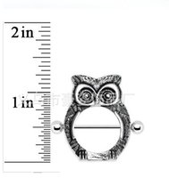 Wholesale Nipple Charms - D0590 Rhodium color styl nipple ring belly ring style owl style nipple Rings Body Piercing Jewelry Dangle Accessories Fashion Charm 10PCS
