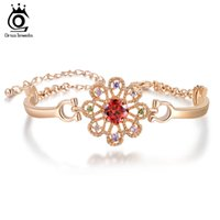 Wholesale Lucky Ring Red - ORSA Latest Lucky Flower Design Luxury Heart and Arrow Cut Red Zircon Bracelet on Platinum Plated OMB10