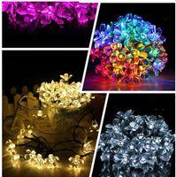 tubo de burbuja de iluminación al por mayor-Lámparas de luz solar Eco Friendly luz de la Navidad 50 LED RGB Cuerdas Cuerdas solar llevó tubo de burbuja lámpara de la bola Lluvia fiesta de la boda de Navidad Luz