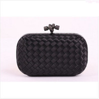 Wholesale Peach Ribbons - Wholesale Knot Satin Clutches Bag 8651S Black With Gun Metal with Snake Leather Designer Intrecciato Knitted Bag Top Quality