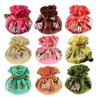 Cheap Wholesale 6PCS CHINOIS HADEMADE EMBROIDERED ROLLS SOIE BIJOUX Pouch MONNAIE