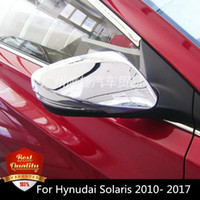 Wholesale Side Door Mirror Covers - 2pcs Set ABS Side Door Mirrors Rearview Cover For Hynudai Solaris 2010- 2017 ABS Chromeb Rearmirror Protectors