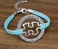 Wholesale Dream Puzzles - Custom-Love Dream Hope Trust Autism Awareness Jigsaw Puzzle Piece Wax Cords Leather Bracelet Autism Speaks Adjustable Bangles-Drop Shipping