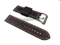 Wholesale Tongue Cm - 24mm Men Lady Genuine Leather Black with Red White Stitches Thick Watch Band Strap Belt Engraving Black in Silver Tongue Buckle