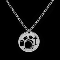 Wholesale Heart Roll - Hollow Drum kit Necklace Rock And Roll Music Jazz Band Pendant Cool Necklace For Music Lovers Women Men Cut Coin Jewelry Gifts