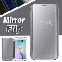 Wholesale Note Flip Retail - Mirror Chrome Clear View Leather Wallet Flip Case Slim With Retail Package Cover For iPhone 8 Plus 7 6 6S SE 5 5S Samsung S8 S7 Edge Note 8