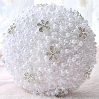 Wholesale Chinese Bead Flowers - Newest Style White Bead Bridal Wedding Holding Flowers Bouquet High Quality Wedding Supplies Decoration Props Free shipping