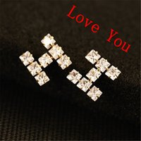 Wholesale Letter H Earrings - Luxury Zircon Letter H Earrings for Women as birthday gift Vintage Gold Plated Stud Earrings Jewelry Fashion Accessories