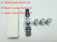 Wholesale quartz bulb for sale - Dual Quartz Globe Atomizer Dry Herb and wax Ceramic Coil Vaporizer bulb glass atomizer for EVOD battery thread battery ecigs Vaporizer