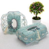кружевные ящики для хранения оптовых-Wholesale- Cloth Napkin Box Pastoral Lace Home Furnishing Creative Desktop Storage Paper Boxes with High-grade Car Tissue Boxes