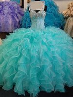 Wholesale Dance Charts - 2017 Real Gorgeous Ruffles Ball Gown Quinceanera Dresses Bling Beads Bodice Sweetheart Organza Shiny Dance Party Prom Gown