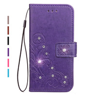 Wholesale Galaxy S Duos Flip - Diamond Rhinestone PU Leather Case For Samsung Xcover 4 G390 SM-G390F Flip Wallet Stand Cover For Samsung Galaxy Trend S Duos S7562 GT-S7562