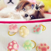 Wholesale New Hair Accessories Wholesale - New Cute Pet Accessories Rubber Band Hair Bows Pet Gifts Yorkshire headdress flower little PAWS band 30pcs