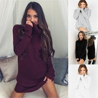 2016 Neue Art und Weise strickte Frauen-Kleid-graues schwarzes rotes Turtleneck Strickjacke-Kleid-langes Hülsen-mini Bleistift-Büro-Winter-Kleid