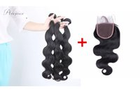 Wholesale Ratio Parts - cheap 8A great hair ratio Brazilian Indian Peruvian Malaysian body wave human hair with closure 4*4 free part high density 4pcs lot