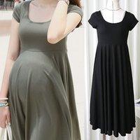 Wholesale Maternity Summer Wear Clothes - Summer Fashion Maternity Dresses Clothes For Pregnant Women Clothing O-neck Short Sleeve 4 Colors Slim Pregnancy Dress Wear