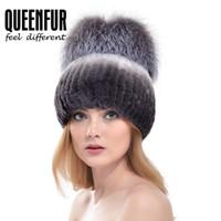 Wholesale Black Rex Rabbit - Wholesale-QUEENFUR Women Fashion Real Rex Rabbit Fur Hat With Silver Fox Fur Big Pom Poms Beanies 2016 Winter Warm Thick Rabbit Fur Caps