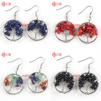 Wholesale Wholesale Tree Sterling Charm - Wholesale 10 Pairs New Trendy Silver Plated Rainbow Tree of Life Wisdom Drop Earrings For Women Fashion Jewelry