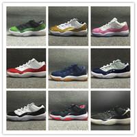 zapatillas de baloncesto de los hombres zapatos de descuento al por mayor-Con caja de descuento 11 Low Varsity Red 11s Navy gum blue Bred Georgetown Concord white men zapatos de baloncesto para mujer women sports sneakers 36-47