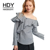 HDY Haoduoyi Moda Plaid Donne Sexy Camicie Cold One Shoulder Ruffles Bottoni Femminili Dolci Causali Camicette Manica Lunga Lady Top q1109