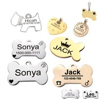Wholesale Laser Pet Tags - Wholesale- Pet id tag for dog Engraved dog tag stainless steel Bone dog id tag Free High Power Laser Engraving text on Pet Tags two sides