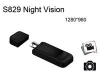 Wholesale Camera Shape Usb - 1280*960P Multifunctional Mini DV USB Disk Driver Camera Hidden Camera Recorder Night Vision S829 Detection Camera Usb Flash Shape