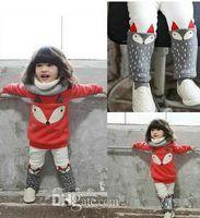 Wholesale Cute Fox Girl - 2016 autumn winter new Babies outfit boys girls cute fox sweatshirt tops+dots pants 2 pcs sets toddler kids thicken sets