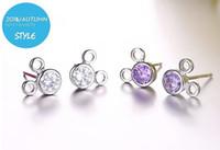 Wholesale Minnie Earring - HYWo Mickey & Minnie earring shape 925 sterling silver fine luxury woman double side earrings gifts crystal jewelry wholesale