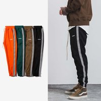 Wholesale hiphop harem pants - SNAP & STRAP 2017 Autumn Mens Hiphop Sportswear Pants Stripe Side Contrast Color Letter Printing Highstreet Vintage Men Sweatpants 349W17