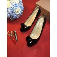 Wholesale Designer Stilettos Shoes - 2017Louboutin Women Designer Suede Shoes Luxury Brand Black Christian Red Bottoms Sneakers Women Red Bottoms Bow Tie Dress Shoes