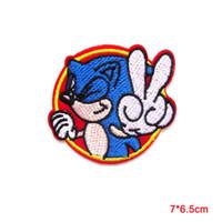 el sanatları giyim toptan satış-Sonic Kirpi Demir On Patch-Retro Sega Oyun Işlemeli Aplike El Sanatları giyim DIY Dekorasyon Yamaları