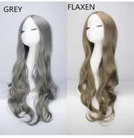 Wholesale Long Curly Hair Bangs - Z&F Harajuku Style Long Curly Hair European Wig With Deep Wave Split Into Bangs Wholesale Fashion Wigs Grey Flaxen 72CM