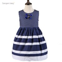 Wholesale Navy Blue Striped Dress - Samgami Baby 2016 Summer sleeveless vest navy stripes dress girl blue polka dot dress for girls Splicing Dress free shipping