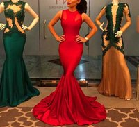 Wholesale Red Empire Waist Cocktail Dresses - New Fashion Red Mermaid Evening Dress Sleevesless High Waist Evening Ball Gowns Elegant Cocktail Sparkly Dresses
