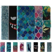 Wholesale Tribal Iphone Cover Wholesale - Wallet PU Leather Flip Pouch Case For Iphone 7 Plus 7TH SE 5 5S Flower TPU Stand Luxury ID Card Tribal Leaf Anchor Eye Moon Cover Skin
