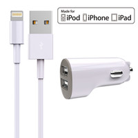 Wholesale Charger Combo - HXINH Apple MFi Certified 2.4A Dual USB Car Charger Combo with Lightning to USB Cable for iPhone iPad